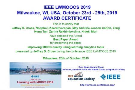 IEEE LWMOOC 2019でベストペーパーアワードを受賞